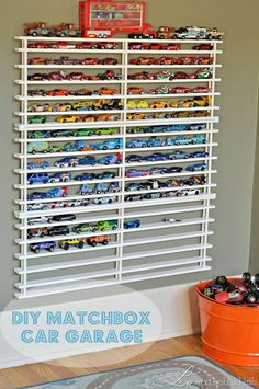 Mini garage for mini cars made out of shoe rack