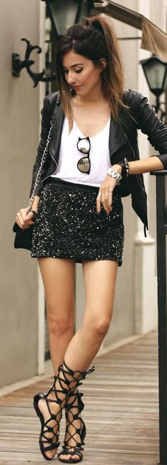 Very simple cute look sequin and leather plus a simple tee xoxoxooxoxo