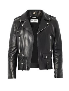 SAINT LAURENT Leather biker jacket (163014)