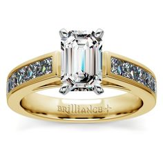 Princess Channel Diamond Engagement Ring in Yellow Gold (1 ctw) | Emerald