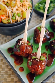 spicy korean-style gochujang meatballs serve with kimchi fried rice