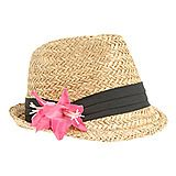 I love straw fadora hats and the cute little pink flowers :)