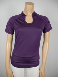 LULULEMON Purple Breathable Mesh Short Sleeve Shirt 6 S Run Walk X Static Top