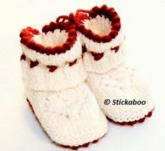 Ravelry: Hjärtetofflor pattern by Eva Valaine - Stickaboo Knitting For Charity, Knitting For Kids, Crochet For Kids, Knitting Socks, Baby Knitting, Knit Baby Shoes, Baby Boots, Baby Barn, Knitted Booties