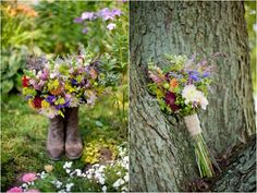 garden flower bouquets in boots, colorful farm wedding, Kristin La Voie Photograhy