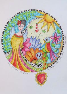 """A """"Frida"""" mandala, made with colored pencil"""