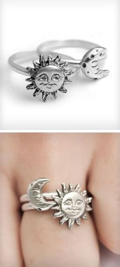 Sun + Moon Stacking Rings...would be even better with a star as well