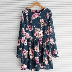 2014 Spring one-piece dress o-neck slim waist fresh flower long-sleeve basic chiffon one-piece dress $21.80