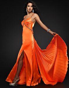 Vestido largo fiesta naranja