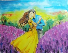 Romantic Watercolor Painting on paper - Lavender Kiss painting using watercolors, also check the Video tutorial for a lovely lesson. Kiss Painting, Watercolor Art Paintings, Watercolor Drawing, Artist Painting, Original Paintings, Watercolors, Painting Videos, Painting Techniques, Butterfly Background