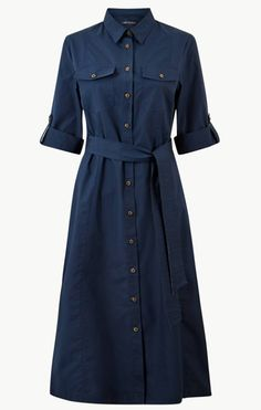 Shop this Pure Cotton Shirt Midi Dress at Marks & Spencer. Browse more styles at Marks & Spencer. Meghan Markle, Navy Blue Dress Shirt, Midi Shirt Dress, Frock Dress, Cotton Shirt Dress, Stylish Dresses, Simple Dresses, Fashion Dresses, Shirt Shop