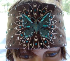 BLINGED BROWN COTTON  Womens Bandana with Turquoise by silcoon52, $22.95 Motorcycle Bandanas, Biker Bandanas, Bandana Headbands, Head Bandana, Biker Accessories, Hair Accessories, Christmas Presents To Make, Crystal Rhinestone, Swarovski Crystals