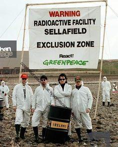 #U2History - 20th June 1992: @u2 protest against the #Sellafield nuclear plant for Greenpeace International on the coast of the Irish Sea in #Cumbria, #England.  Photos By: ©Adrian Boot / urbanimage.tv VIA: urbanimage.tv #U2NewsIT  #U2 #u2memes #Bono #BonoVox #TheEdge #AdamClayton #LarryMullenjr #rock #music #rockmusic #greenpeace #90s #90sstyle #90smusic #90srock