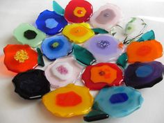 Contemporary blooms Floral Colorful fused glass by sherrylee16, $75.00