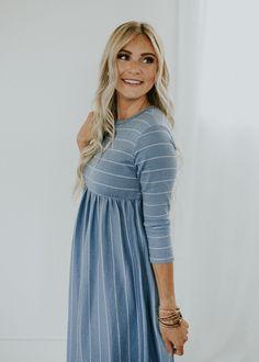 068004950d5 Nursing Friendly Blue + White Stripe Dress
