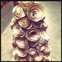 Recycled book Christmas tree!