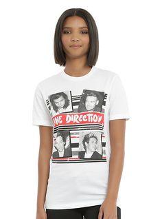 One Direction Photo Stripes Girls T-Shirt, WHITE