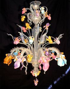 Iris Chandelier - Busato Murano Glassworks - Blown Murano Glass (Chandeliers, Vases, Chalices and Sculptures)