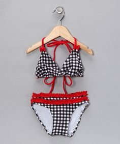 Love this Black & Red Gingham Two-Piece Swimsuit - Toddler & Girls by Marina West on #zulily! #zulilyfinds