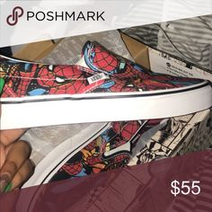 d7a9623cd0c Spider-Man slip on vans Never worn fresh out the box Vans Shoes Sneakers Box