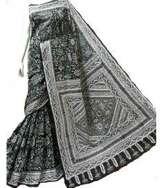 Black Silk Kantha Work Saree