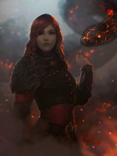 HD wallpaper: red haired woman with snake character, fantasy art, fire, one person Fantasy Warrior, Fantasy Rpg, Medieval Fantasy, Fantasy Artwork, Dark Fantasy, Fire Warrior, Character Portraits, Character Art, Character Concept