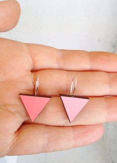 Hand Painted Triangle Wooden Hook Earrings in by EachToOwn on Etsy, $18.00