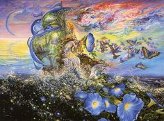 """Andromeda' Quest by Josephine Wall  Andromedia sails away in her magical galleon in search of adventure beyond earthly boundaries to worlds beyond the stars. As she travels she listens to the strange and haunting sounds of flower music emitting from her gramophone, spreading """"Morning Glory"""" in her wake and creating rainbow butterflies. As the cosmic currents waft through the sails they portray a vision of other lands to be discovered in other dimensions."""