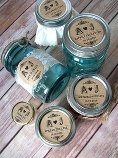 Wedding Initials rustic KRAFT paper Canning jar labels by CanningCrafts, $6, personalized jam jar labels with your wedding initials & date