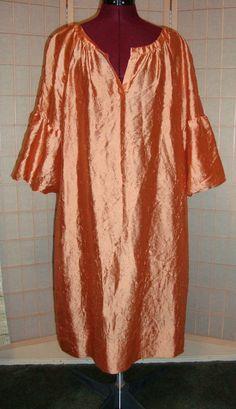 New WT Talbots Sz L Apricot 100% Silk Women's Shift Dress W/ Puffy Sleeves #Talbots #Shift