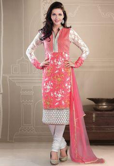#Red Net Readymade A-Line #ChuridarKameez Online Shopping: KFT2