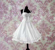 Rockabilly Brautkleid knielang Hochzeitskleid 50er ivory creme beige kurz