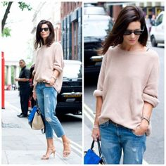 love the current/elliot skinny boyfriend cropped jeans and oversized sweater combo... not lovin the heels.
