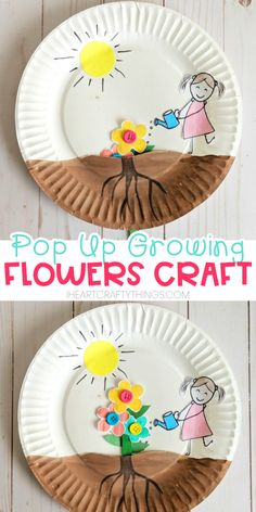 Paper plate growing flower craft for kids to enjoy for a spring craft. Easy craft for preschoolers and toddlers, watching their flowers grow out of the soil. # Easy Crafts for summer Paper Plate Growing Flower Craft Frog Crafts, Spring Crafts For Kids, Paper Crafts For Kids, Easter Crafts, Paper Crafting, Diy Paper, Crafting Guild, Green Crafts For Kids, Crafts For Boys