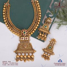 Antique and alluring jewelry for every occassions. Get in touch with us on Antique Jewellery Designs, Gold Earrings Designs, Gold Jewellery Design, Necklace Designs, Handmade Jewellery, Silver Jewellery, Indian Jewelry, Gold Designs, Temple Jewellery