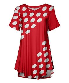 d5dadaa817a Love this Red & White Polka Dot Swing Tunic - Women & Plus on