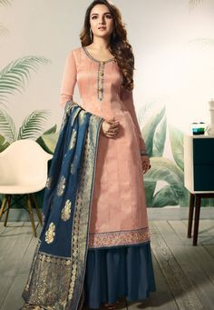 VJV Fashions presenting Jasmin Bhasin Pink Satin Silk Embroidered Palazzo Suit shop from our biggest collection of designer salwar suit, party wear salwar Pakistani Dress Design, Pakistani Suits, Pakistani Dresses, Punjabi Suits, Pakistani Sharara, Indian Gowns, Indian Suits, Sharara Suit, Salwar Kameez