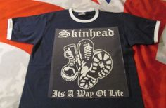 Skinhead Boots . its a Way of Life T SHIRT NAVY RINGER