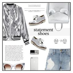 """Double Take: Statement Shoes"" by rasa-j ❤ liked on Polyvore featuring Sans Souci, Frame, Thierry Lasry, Jewelonfire, Loeffler Randall, Usagi, Viktor & Rolf, Stuart Weitzman, Native Union and Chanel"
