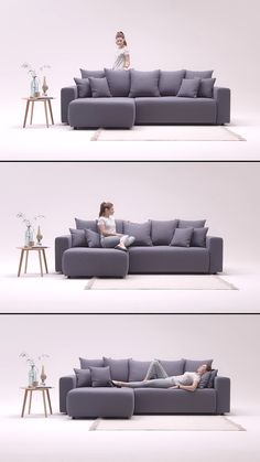 Elvi trendy inflated design convertible corner sofa by Bobochic Design gray . - Trendy inflated design convertible corner sofa Elvi by Bobochic Design gray sofa bed with storage T - Corner Sofa Design, Sofa Bed Design, Living Room Sofa Design, Living Room Designs, Furniture Design, Modern Furniture, Living Room Furniture, L Shaped Sofa Designs, Grey Sofa Bed