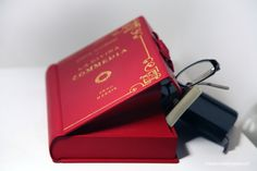 Red clutch handbag: handcrafted book clutch with gold leaf and high quality leather, fully personalised, made in Italy with love, By M.