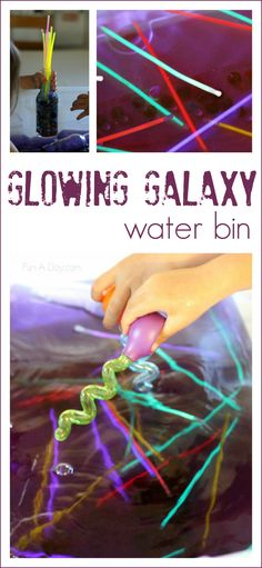 Glowing Galaxy Water Bin - what a fun space activity for the kids! I love what they used for the planets