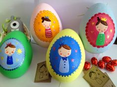 Sugarbaby Art . . . hand painted easter eggs Easter Eggs, Hand Painted, Christmas Ornaments, Stone, Holiday Decor, Spring, Crafts, Diy, Ideas