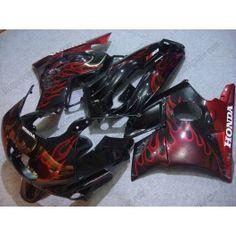 Honda CBR600 F2 1991-1994 ABS Fairing - Red Flame - Black | $629.00
