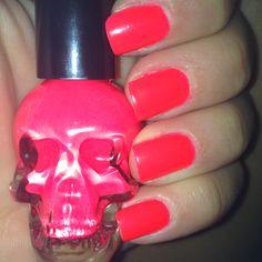 Sweet skull nailpolish bottle from Hot Topic. Neon Pink