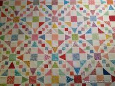 Close-up of Emily's Wedding Quilt...Fons and Porter...uses Tri-Recs Rulers. Combination of 54-40 Or Fight and Shoo Fly Blocks.