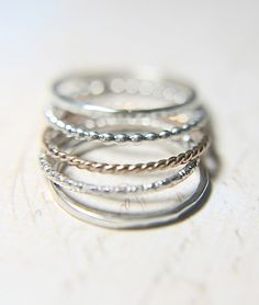 Slim Bands Stacking Rings - 14K Solid Gold and Silver, Different Styles