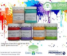 We're getting closer! 16 days left of our birthday countdown and we have great deals! Like fabric paints for only R Offer valid from the - of Feb, while stocks last, E&OE. Birthday Countdown, 21st Birthday, Closer, Lilac, Fabric, Painting, Tejido, Tela, Painting Art