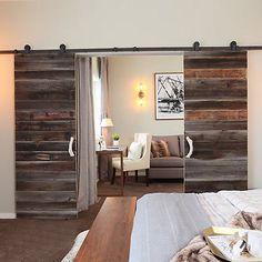 6-16 FT Rustic Classic Closet Sliding Barn Double Door Hardware Roller Track