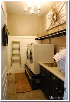 Laundry room idea/my laundry room never looks like this always clothes laying in the floor